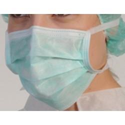 Masque vert 3 plis de chirurgie haute filtration à lacets (le carton de 1000)