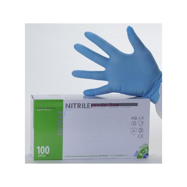 Bo/îte de 100/gants jetables en nitrile Bleu Taille L ou XL AQL 1,5