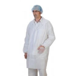 Blouse blanche à pressions avec poche avec élastique (le carton de 50)