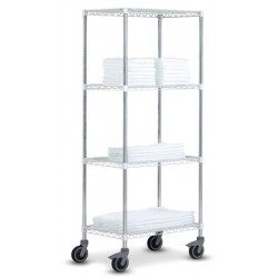 Rayonnage modulable High Racks mobile 4 tablettes blanches L70 x P45 x H185 cm