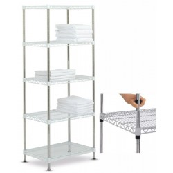 Rayonnage modulable High Racks fixe 5 tablettes blanches L100 x P60 x H170 cm