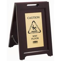 Panneau 2 côtés en bois message d'avertissement multilingue sur plaque dorée