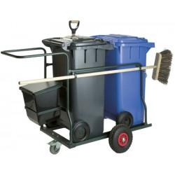Chariot d'entretien complet avec conteneur gris 2x120l
