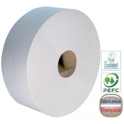 Colis de 6 rouleaux maxi jumbo 380 m 2 plis collés 8,3x34 cm blanc