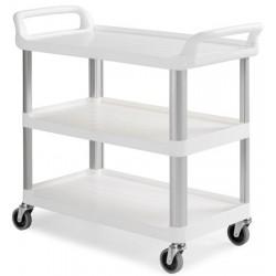 Chariot ergonomique HACCP 3 plateaux blancs
