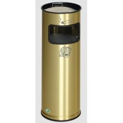 Cendrier poubelle 16,7L laiton et acier diam 23xH66 cm