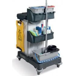 Chariot de ménage compact avec collecteur universel et seaux 1