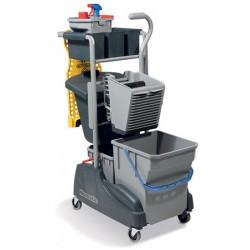 Chariot de lavage et ménage compact plus avec rangement 2 seaux et presse