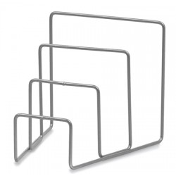 Porte brochures métal gris titane pour chariot Mondial