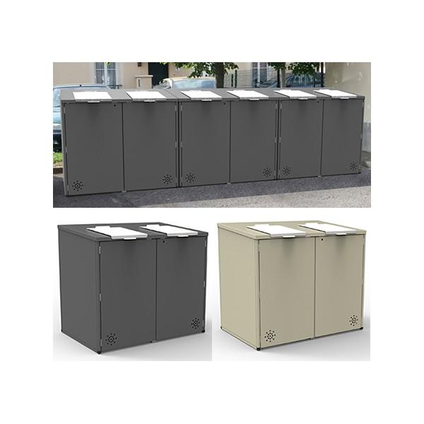 Abri conteneurs acier 2 trappes L150 x P100 x H134 cm