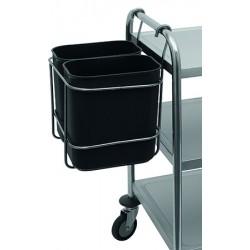 Support en inox avec 2 bacs à déchets 8L pour chariots