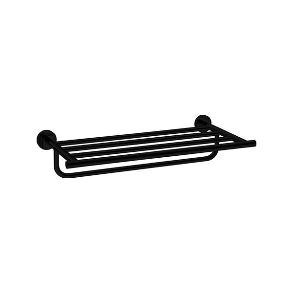 Rack porte-serviettes 2 niveaux en laiton noir mat Nexxus L49,8 x H10,5 x  P23,1 cm