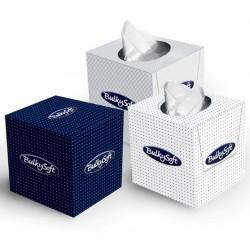 Carton de 24 boites cubiques de 90 mouchoirs Bulky 2p blanc