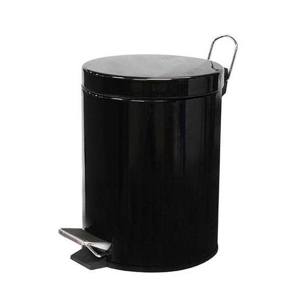 Poubelle à pédale en acier époxy noir 3L