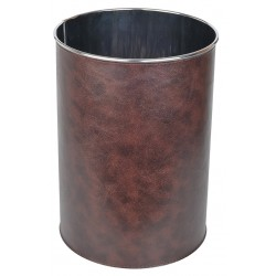 Poubelle de bureau inox et PVC brun 9L