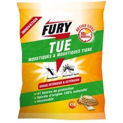 Lot de 10 sachets de 10 spirales anti moustiques intérieur/extérieur Fury