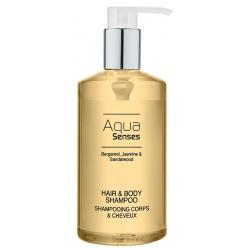 Lot de 12 flacons pompe shampooing corps et cheveux Aqua Sense 300 ml