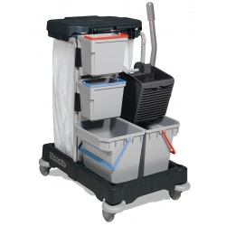 Chariot de ménage avec 2 seaux 15 L + presse + collecteur 120L RE-Flo 3