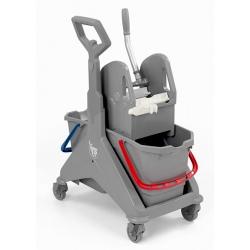Chariot de lavage compact Nickita 2x15L avec presse gris
