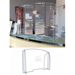 Panneau écran pléxi avec passe document et hygiaphone L90 x P2,9 x H63,4 cm