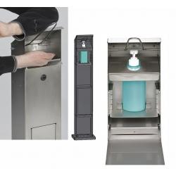 Distributeur de lavage des mains avec poubelle en acier argent antique