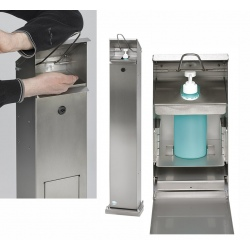 Distributeur de lavage des mains sans poubelle en acier blanc RAL 9016