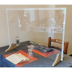 Protection plexi avec passe document pieds bois  L70 x H60 cm