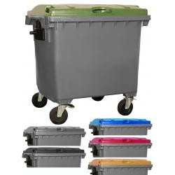 Bac roulant de collecte 100% recyclable 1100 L corps gris