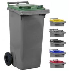 Bac roulant de collecte 100% recyclable 120 L corps gris
