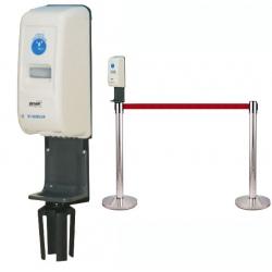 Distributeur automatique avec support pour fixation sur poteau de guidage