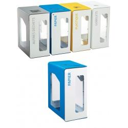 Poubelle de tri sélectif Vigipirate 90L blanc papier sans serrure