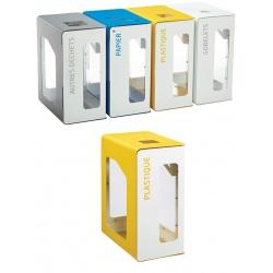 Poubelle de tri sélectif Vigipirate 90L blanc tri plastique sans serrure