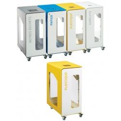 Poubelle de tri sélectif Vigipirate mobile 90L blanc tri plastique sans serrure