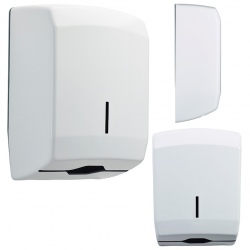 Distributeur d'essuie-main Design 400 feuilles inox blanc 9016