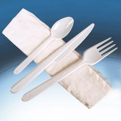 Carton de 250 set de 3 couverts en plastique + 1 serviette blanche