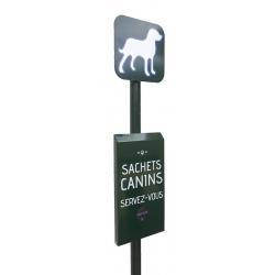 Borne de propreté canine avec distributeur de sachets en  liasse