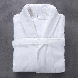 Peignoir Bien-être microfibre et coton blanc 300 g col châle taille XL (le lot de 1)