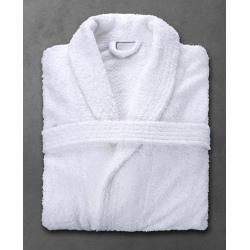 Peignoir Boucle 90% coton 10% polyester blanc 400 g col châle taille XL (le lot de 10)