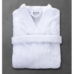 Peignoir Boucle 90% coton 10% polyester blanc 360 g col kimono taille XL (le lot de 12)
