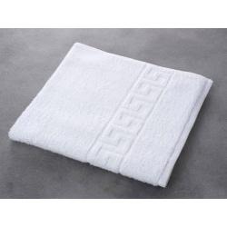 Drap de bain liteaux grecs 100% coton blanc 390 g 70x140 cm (le lot de 5)