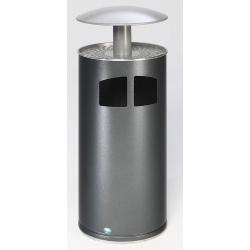 Combiné cendrier poubelle 75 L chapeau rond corps argent antique et toiture argent