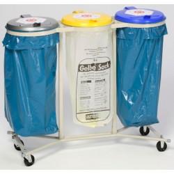 Support 3 sacs mobile 4 roues galvanisé 120L avec couvercle plastique