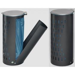 Poubelle compact avec porte et couvercle diam 36,5xH82 cm