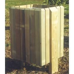 Corbeille bois Drosera carrée porte sac 60L