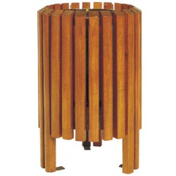 Corbeille Camomille bois exotique avec bac acier 40L