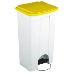 Collecteur JVD à pédale HACCP couvercle jaune 90 L