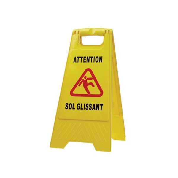 Panneau signalisation sol glissant jaune 63,5 cm x 1